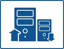 אייקון כחול של 2 מחשבים של גלובל שירותי מחשוב לעסקים